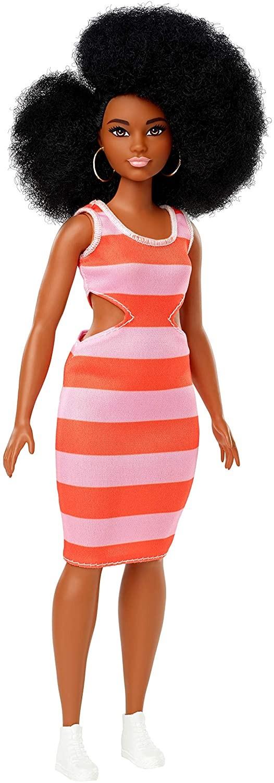 Купить Кукла Барби Модница  Stripe Cut-Out Dress 105 (Barbie Fashionistas Curvy Body Type with Stripe Cut-Out Dress) от
