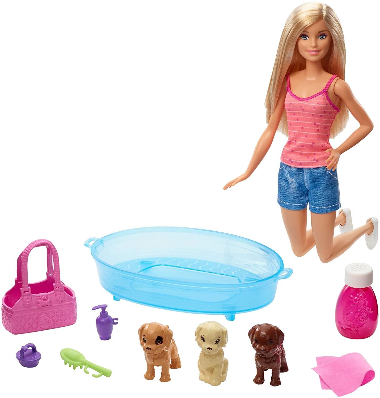 Купить Кукла Барби  купание щенков (Barbie Doll & Puppy Playset, Blonde) от