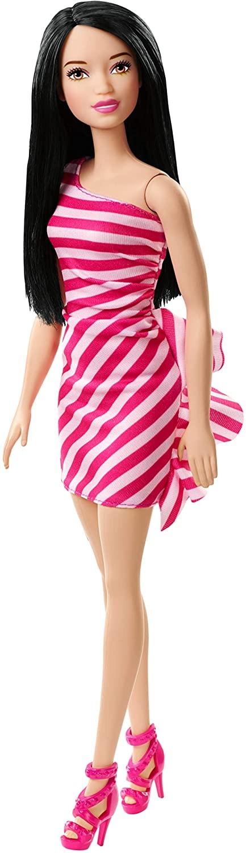 Купить Кукла Барби Блеск (Barbie Doll, Brunette Wearing Glitzy Pink & White Striped Party Dress) от