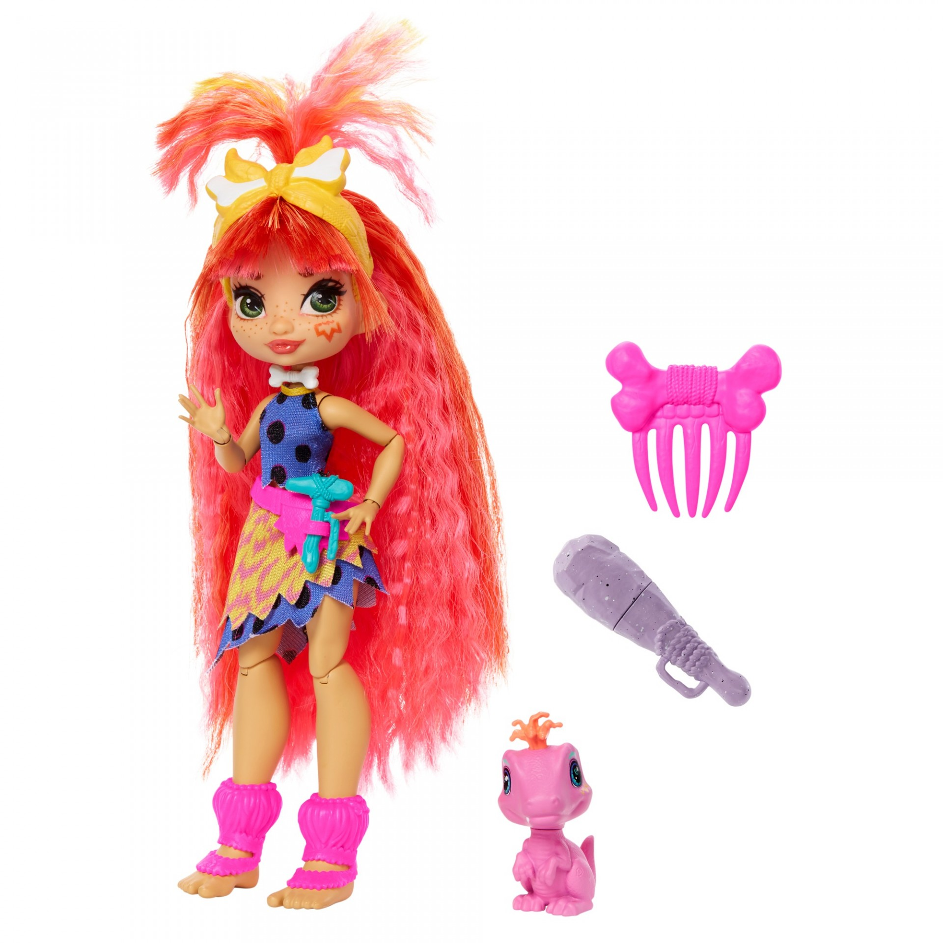Купить Кукла Эмберли и питомец Флер Пещерный клуб  Cave Club Emberly Doll with Flaire Dinosaur Pet Mattel от
