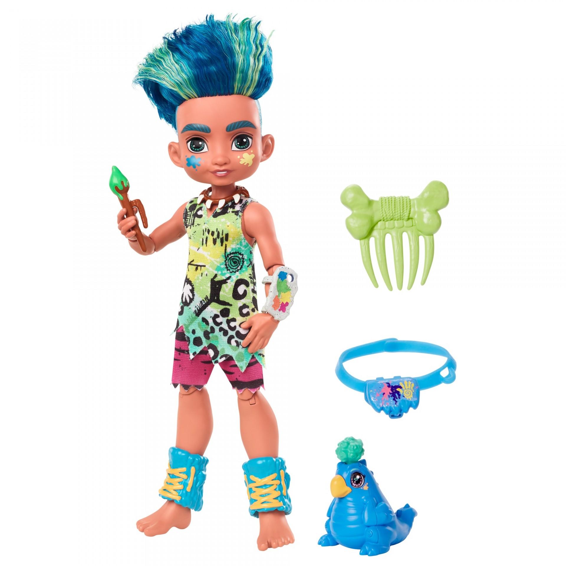 Купить Кукла Слейт и питомец Тэгги Пещерный клуб  Cave Club Slate Doll with Taggy Dinosaur Pet Mattel от