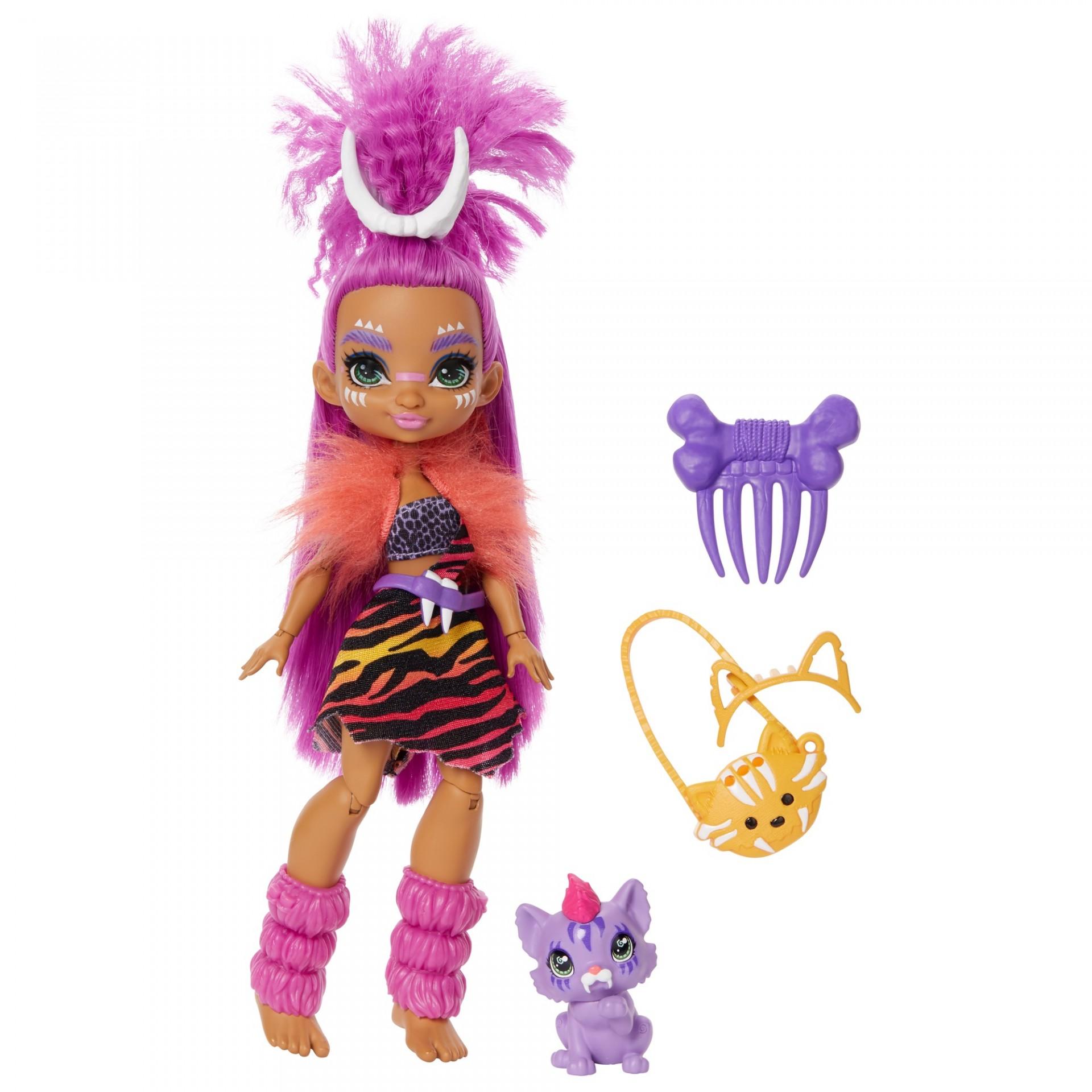 Купить Кукла Роарелей и питомец Феррелл Пещерный клуб  Cave Club Roaralai Doll with Ferrell Dinosaur Pet Mattel от