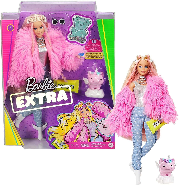 Купить Кукла Барби Экстра #3 Модница Barbie Extra Doll #3 in Pink Fluffy Coat with Pet Unicorn-Pig от