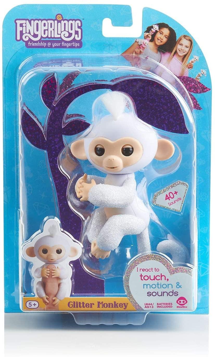 Купить WowWee Fingerlings Интерактивная обезьянка Сахарок (Fingerlings Glitter Monkey - Sugar  White Glitter) от