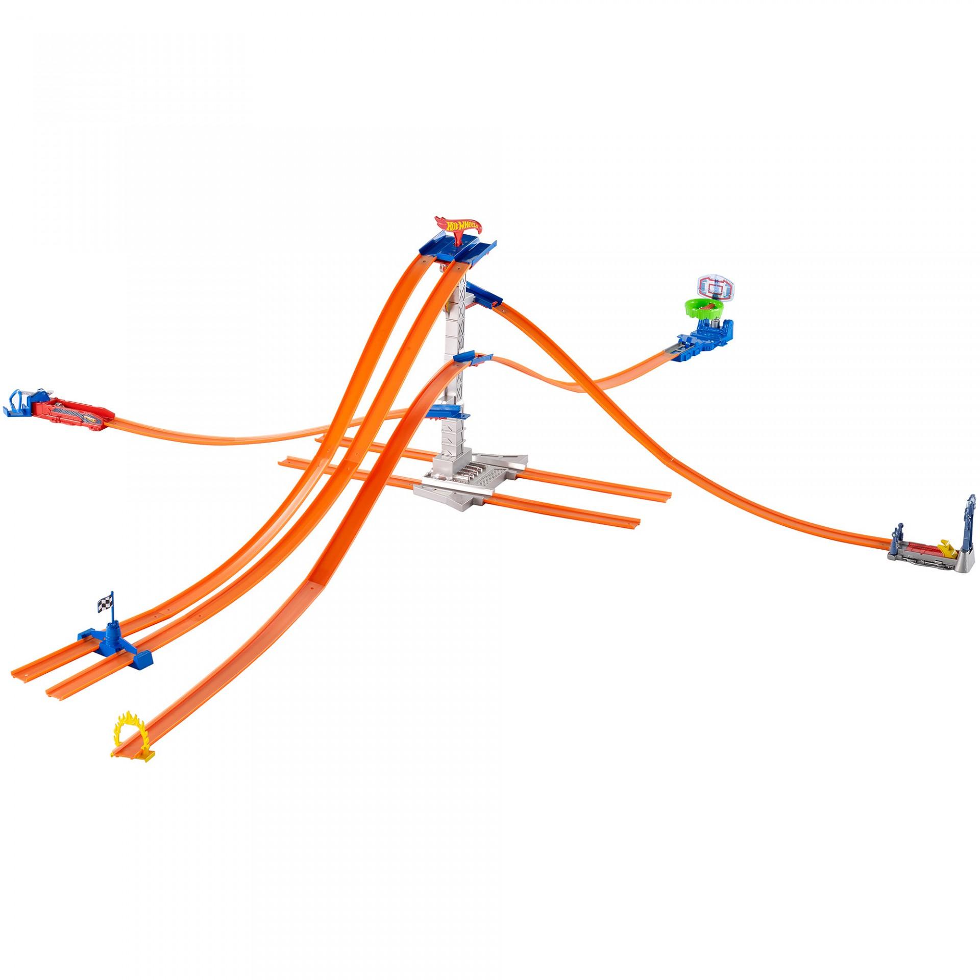 Купить Трек Hot Wheels Хот Вилс Стартовый набор 5 в 1 Башня гонок (Hot Wheels Track Builder 5-Lane Tower Starter) от
