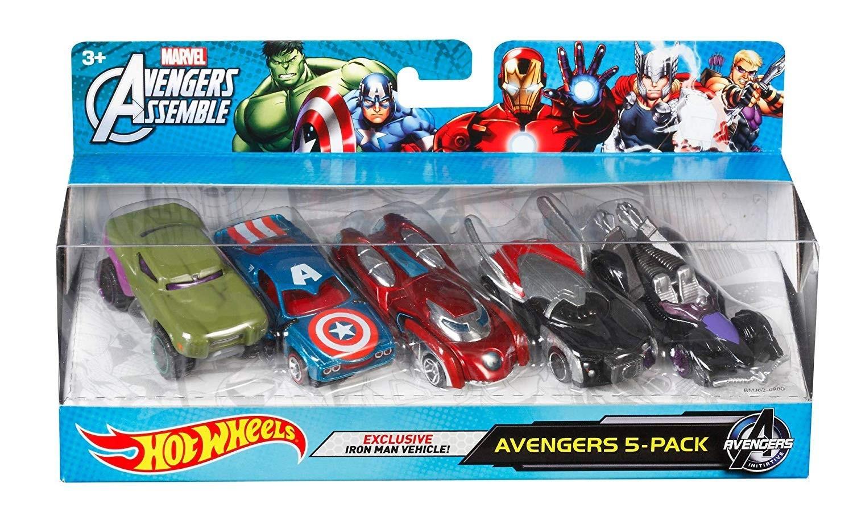 Купить Hot Wheels Машинки-герои Марвел 5 шт.(Hot Wheels Marvel Avengers Die-Cast Vehicle) от